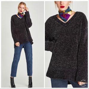 Zara Chenille Oversized Knit Chunky Sweater